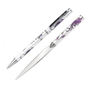 Bird of Paradise Pen Letter Opener Gift Set (white)